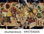 food catering cuisine culinary... | Shutterstock . vector #495754045
