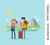 a guy and a girl traveling.... | Shutterstock .eps vector #495755401