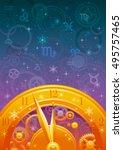 zodiac wheel vector... | Shutterstock .eps vector #495757465