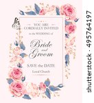 vintage wedding invitation | Shutterstock .eps vector #495764197