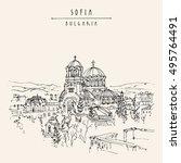 st. alexander nevsky cathedral... | Shutterstock .eps vector #495764491