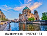 Stock photo nice sky with berlin cathedral in berlin germany 495765475