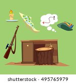 hunting . hunting objects. | Shutterstock .eps vector #495765979