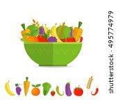 salad bowl   healthy food ... | Shutterstock .eps vector #495774979