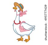 White Goose Cartoon With A...
