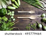 fresh organic vegetables fork... | Shutterstock . vector #495779464
