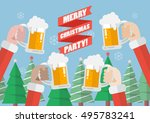 merry christmas party. santa... | Shutterstock .eps vector #495783241