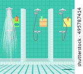 interior of the shower room at... | Shutterstock .eps vector #495787414