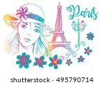 lovely girl in sketch style on... | Shutterstock .eps vector #495790714