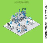 flat isometric manufacturing... | Shutterstock .eps vector #495795007