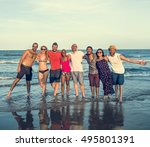 young people standing near sea... | Shutterstock . vector #495801391
