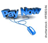 Word Pay Now, in blue connected to a computer mouse - stock photo
