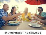 group of people dining concept | Shutterstock . vector #495802591