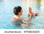 happy asian father and son... | Shutterstock . vector #495803605
