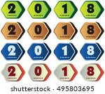 2018 annual year vector. happy... | Shutterstock .eps vector #495803695