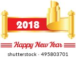happy new year. 2018 in golden... | Shutterstock .eps vector #495803701