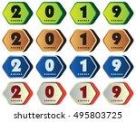 2019 annual year vector. happy... | Shutterstock .eps vector #495803725