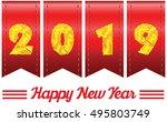 2019 annual year vector. happy... | Shutterstock .eps vector #495803749