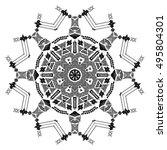 snowflake. mandala. tribal folk ... | Shutterstock .eps vector #495804301