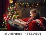 merry christmas  cute little... | Shutterstock . vector #495814801