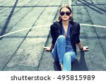 young stylish hipster woman... | Shutterstock . vector #495815989