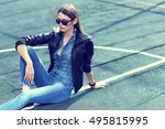 young stylish hipster woman... | Shutterstock . vector #495815995