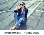 young stylish hipster woman... | Shutterstock . vector #495816001