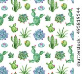 cactus and succulent watercolor ... | Shutterstock . vector #495819544