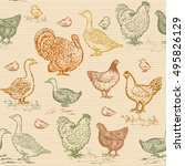 farm birds seamless pattern... | Shutterstock .eps vector #495826129