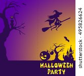 halloween illustration of... | Shutterstock .eps vector #495826624