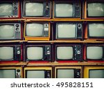 old retro television and blank... | Shutterstock . vector #495828151