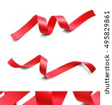 set of red ribbons on white... | Shutterstock .eps vector #495829861