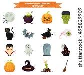 color halloween elements set in ... | Shutterstock .eps vector #495829909