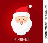 santa smile in cartoon style.... | Shutterstock .eps vector #495832291