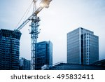 low angle view of cranes... | Shutterstock . vector #495832411