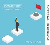 flat 3d isometric businessman... | Shutterstock .eps vector #495833149