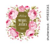 wedding card with blooming... | Shutterstock .eps vector #495833161
