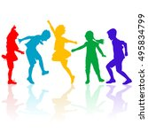 colored silhouettes of happy... | Shutterstock . vector #495834799