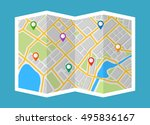 map with navigation. finding... | Shutterstock .eps vector #495836167