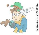 humorous illustration of man... | Shutterstock .eps vector #495837544