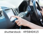 woman who operates a car... | Shutterstock . vector #495840415