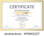 vector certificate template.... | Shutterstock .eps vector #495842227