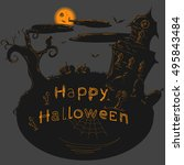 dark halloween illustration | Shutterstock .eps vector #495843484