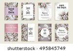 save the date. set of cards... | Shutterstock .eps vector #495845749
