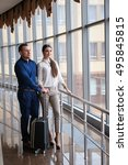 couple at airport waiting... | Shutterstock . vector #495845815