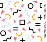 memphis pattern of geometric...   Shutterstock .eps vector #495853075