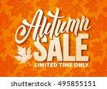 seasonal autumn sale ad banner... | Shutterstock .eps vector #495855151