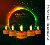 abstarct happy diwali background | Shutterstock .eps vector #495860719