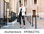 fashion blonde woman in... | Shutterstock . vector #495862741