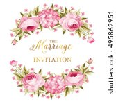 marriage invitation card. peony ... | Shutterstock .eps vector #495862951